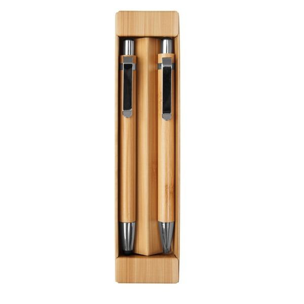 Set Ecológico Bamboo Lápiz Mecánico + Bolígrafo + Caja De Regalo - Con Logo